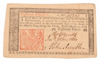 1776 New Jersey 18 Eighteen Pence Colonial Currency Note at PristineAuction.com
