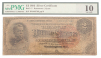 1886 $2 Two Dollars U.S. Silver Certificate Large Size Bank Note (PMG 10) at PristineAuction.com