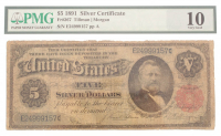 1891 $5 Five Dollars U.S. Silver Certificate Large Size Bank Note (PMG 10) at PristineAuction.com