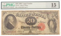 1880 $20 Twenty Dollars Legal Tender Large Bank Note Bill (PMG 15) at PristineAuction.com