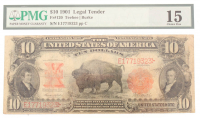 1901 $10 Ten Dollars Legal Tender Large Bank Note Bill (PMG 15) at PristineAuction.com