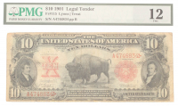 1901 $10 Ten Dollars Legal Tender Large Bank Note Bill (PMG 12) at PristineAuction.com