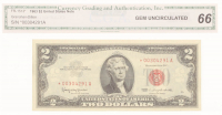 1963 $2 Two Dollars Red Seal Star Note Legal Tender Bank Note (CGA 66) at PristineAuction.com