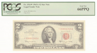 1963-A $2 Two Dollars Red Seal Star Note Legal Tender Bank Note (PCGS 66PPG) at PristineAuction.com