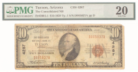 1929 $10 Ten Dollar U.S. National Currency Brown Seal Bank Note (PMG 20) at PristineAuction.com