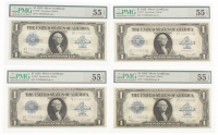 Lot of (4) 1923 $1 One Dollar Silver Certificate Bank Notes with Consecutive Serial Numbers (PMG 55) (EPQ) at PristineAuction.com