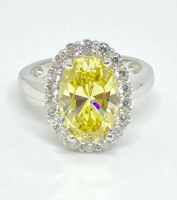 1.25ct Fancy Deep Yellow & White Diamond Halo Engagement Ring 14kt White Gold (GIA Certified) at PristineAuction.com