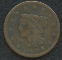 1841 Braided Hair Large One Cent at PristineAuction.com