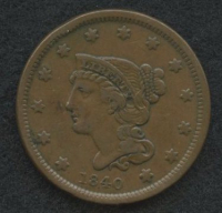 1840 Braided Hair Large One Cent at PristineAuction.com