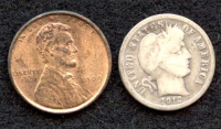 Lot of (2) Coins with 1909-VDB Wheat Penny 1 One-Cent Coin & 1912 Barber Dime at PristineAuction.com