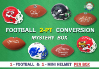 Schwartz Sports 2-Pt Conversion Full Size Football/Mini Helmet Signed Mystery Box - Series 6 (Limited to 100) (1 Football/1 Mini In Every Box!) at PristineAuction.com