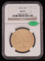 1876 Liberty Head $20 Double Eagle Gold Coin (NGC AU 53) (CAC) at PristineAuction.com