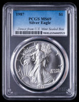 1987 American Silver Eagle $1 One Dollar Coin- Direct from U.S. Mint Sealed Box (PCGS MS69) at PristineAuction.com
