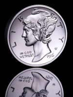 2 oz Mercury Dime Ultra High Relief Silver Bullion Round at PristineAuction.com