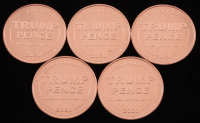 Lot of (5) 1 Ounce .999 Fine Copper 2020 Trump Pence Bullion Rounds at PristineAuction.com