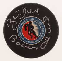 Brett Hull & Bobby Hull Signed Hall of Fame Logo Hockey Puck (JSA COA) at PristineAuction.com