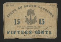 1863 15¢ Fifteen Cents - The Bank of the State of South Carolina Bank Note at PristineAuction.com
