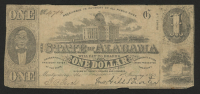 1863 $1 One Dollar - The State of Alabama Bank Note at PristineAuction.com