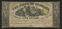 1864 $5 Five Dollars - The State of Georgia Bank Note at PristineAuction.com