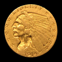 1914-D $2.50 Indian Head Quarter Eagle Gold Coin at PristineAuction.com