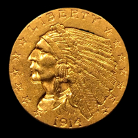 1914 $2.50 Indian Head Quarter Eagle Gold Coin at PristineAuction.com