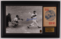 Ted Williams Signed Red Sox 18.5x29.5 Custom Framed Photo Display with Vintage 1946 Red Sox Program (PSA LOA & Ted Williams Hologram) at PristineAuction.com