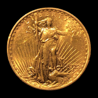 1922 $20 Saint-Gaudens Double Eagle Gold Coin at PristineAuction.com
