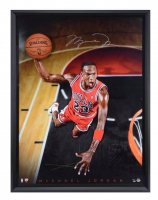 "Michael Jordan Signed Bulls ""Cleared For Departure"" 44x60 Custom Framed LE Breaking Through Photo (UDA COA) at PristineAuction.com"