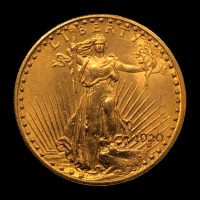 1920 $20 Saint-Gaudens Double Eagle Gold Coin at PristineAuction.com