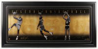 Magic Johnson, Michael Jordan & Larry Bird Signed LE 25x51 Custom Framed Photo Display (UDA COA) at PristineAuction.com