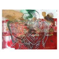 """Mark Kostabi Signed """"Deep Crimson Passion"""" 22x30 Original Artwork at PristineAuction.com"""