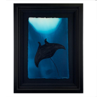 "Wyland Signed ""Manta Ray"" 25x33 Custom Framed Original Painting at PristineAuction.com"
