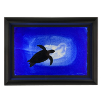 "Wyland Signed ""Turtle"" 29x21 Custom Framed Original Painting at PristineAuction.com"