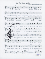 """Willie Nelson Signed """"On The Road Again"""" 8.5x11 Lyric Sheet (PSA COA) at PristineAuction.com"""