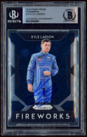 Kyle Larson Signed 2019 Panini Prizm Fireworks #10 (BGS Encapsulated) at PristineAuction.com