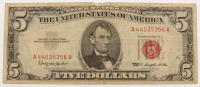 1963 $5 Five Dollar Red Seal U.S. Federal Reserve Note at PristineAuction.com