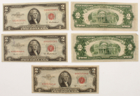 Lot of (5) 1953 $2 Two Dollar Red Seal U.S. Federal Reserve Notes with (2) 1953-B & (3) 1953-A at PristineAuction.com