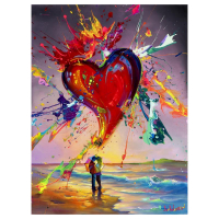 "Jim Warren Signed ""Love is in the Air"" 30x24 Artist Embellished AP Limited Edition Giclee on Canvas at PristineAuction.com"