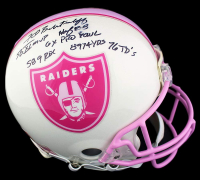 Fred Biletnikoff Signed Radiers Breast Cancer Awareness Full-Size Authentic On-Field Helmet with Multiple Inscriptions (JSA Hologram) at PristineAuction.com
