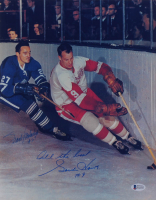 """Gordie Howe & Frank Mahovlich Signed 11x14 Photo Inscribed """"All The Best"""" (Beckett COA) at PristineAuction.com"""
