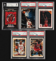 Lot of (5) Graded Michael Jordan Basketball Cards with 1991-92 Hoops McDonald's #5 (PSA 8), 1995-96 Upper Deck Predictor Player of the Month #R1 (BGS 8), 1993-94 Stadium Club #1 (PSA 8.5) at PristineAuction.com