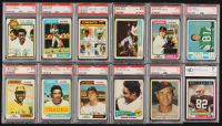 Lot of (12) Assorted Graded Cards with 1980 Topps #110 Ozzie Newsome (BCCG 7), 1974 Topps #533 Mike Phillips RC (PSA 6), 1979 Topps #246 Billy Johnson (PSA 7), 1957 Topps #67 Chico Carrasquel (PSA 1.5) at PristineAuction.com