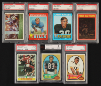 Lot of (7) Graded Football Cards with 1970 Topps #256 Mac Percival RC (BVG 5), 1972 O-Pee-Chee CFL #123 Pro Action (PSA 6), 1974 Topps #186 Nick Mike-Mayer RC (PSA 6) at PristineAuction.com
