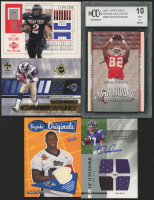 Lot of (5) Football Cards with 2007 Upper Deck #285 Dwayne Bowe RC (BCCG 10), 2006 Hot Prospects #204 Demetrius Williams RC, 2002 UD Piece of History #154 Ricky Williams RC, 2005 Bazooka Originals Jerseys #BOMCL Mark Clayton at PristineAuction.com
