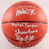 "NBA Game Ball Series Basketball Signed By Magic Johnson, James Worthy, Byron Scott & Mychal Thompson Inscribed ""Showtime"" (Beckett COA) at PristineAuction.com"
