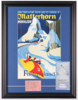 "Disneyland ""Matterhorn"" 18.5x24 Custom Framed Print with 1960's E Ride Ticket & Pamphlet at PristineAuction.com"