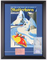 "Disneyland ""Matterhorn"" 18.5x24 Custom Framed Print with 1960's E Ride Ticket & Pamphlet at PristineAuction.com"