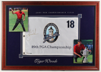 Tiger Woods Signed LE PGA Championship 25x35 Custom Framed Golf Pin Flag (UDA COA) at PristineAuction.com