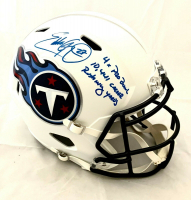 "Eddie George Signed Titans Full-Size Speed Helmet Inscribed ""4x Pro Bowl"" & ""10,441 Career Rushing Yards"" (Beckett COA) at PristineAuction.com"