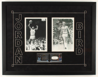 Michael Jordan & Larry Bird 22x28 2012-13 Exquisite Collection UD Black Leather Autographs Dual #JB Display at PristineAuction.com